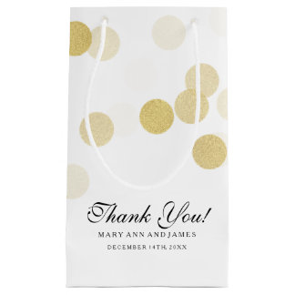 Elegant Thank You Wedding Gold Foil Glitter Lights Small Gift Bag