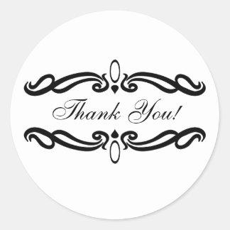 Elegant Thank You Wedding Round Stickers
