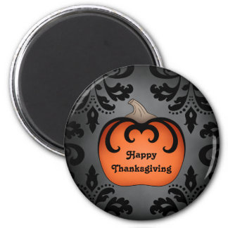 Elegant Thanksgiving pumpkin on damask Magnet