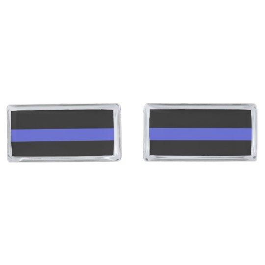 Elegant 'THIN BLUE LINE' cufflinks Silver Finish Cuff