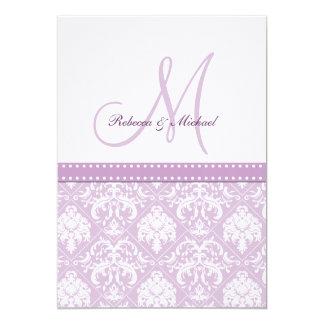 Elegant Thistle Purple vintage damask & monogram Personalized Invitation