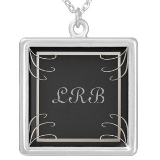 Elegant Three Initial Black-Silver Swirl Silver Plated Necklace