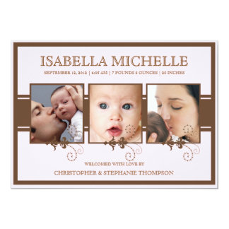 Elegant Three Photo Baby Girl Birth Announcement