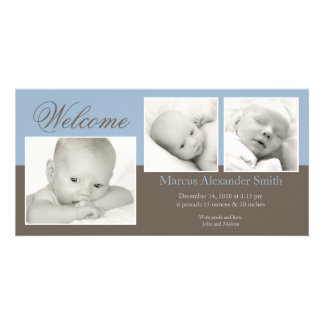 Elegant Three Photo Birth Announcement Card