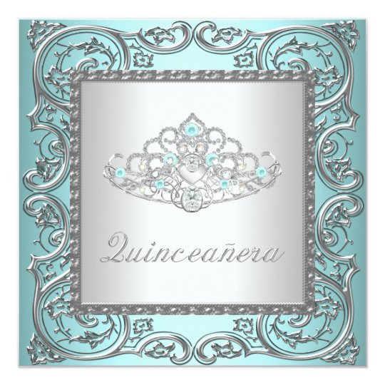 Elegant Tiara Teal Blue Quinceanera Card