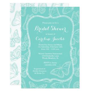 Elegant Tiffany Blue Butterfly Bridal Shower Card