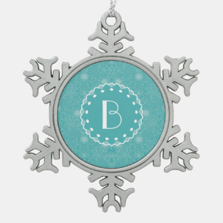 Elegant Tiffany Damask Pattern with Monogram Snowflake Pewter Christmas Ornament