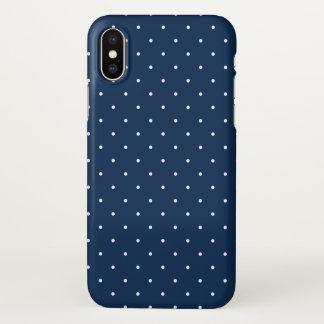 elegant tiny navy blue white polka dots pattern iPhone x case