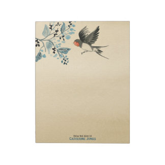 Elegant Tree Branch and Bird | Vintage Parchment Notepad