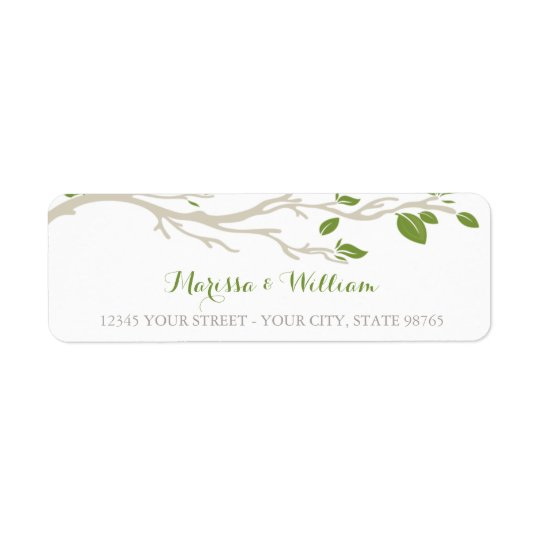Elegant Tree Branch Green/Beige Address Label