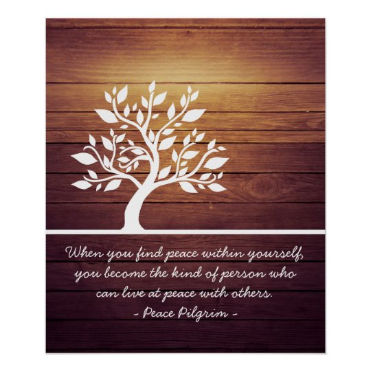 Elegant Tree Yoga Meditation Instructor Quotes Poster