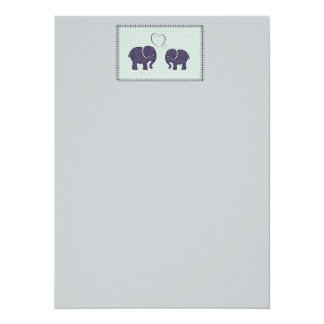 Elegant trendy cute elephants in love 14 cm x 19 cm invitation card