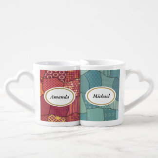 Elegant trendy cute patchwork couple personalized coffee mug set