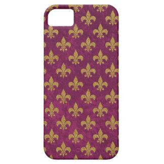 Elegant trendy faux velvet and gold  Fleur-de-Lis iPhone 5 Covers