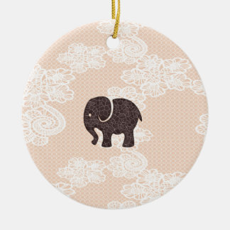 elegant trendy girly cute elephant lace christmas ornament