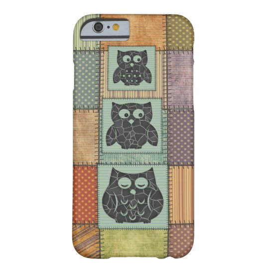 Elegant trendy girly cute owls patchwork barely there