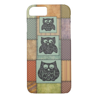 Elegant trendy girly cute owls patchwork iPhone 7 case