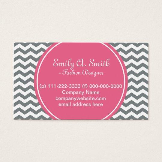 Elegant, trendy, girly grey, white chevron pink business