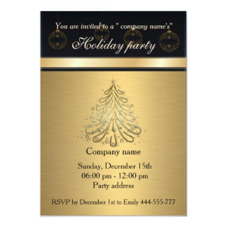 Elegant trendy gold black holiday party corporate 13 cm x 18 cm invitation card