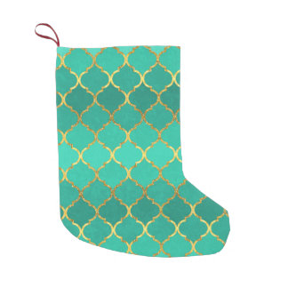 Elegant trendy gold faux glitter quatrefoil small christmas stocking