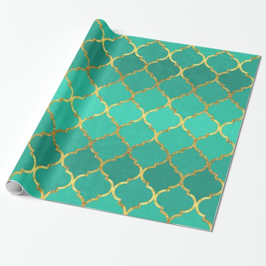 Elegant trendy gold faux glitter quatrefoil wrapping paper
