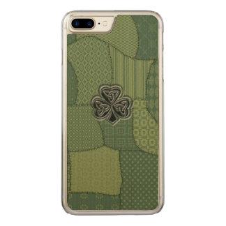 Elegant trendy lucky Irish shamrock patchwork Carved iPhone 7 Plus Case