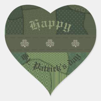 Elegant trendy lucky Irish shamrock patchwork Heart Sticker