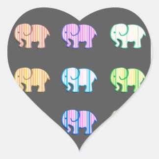 Elegant trendy modern girly cute elephants heart sticker