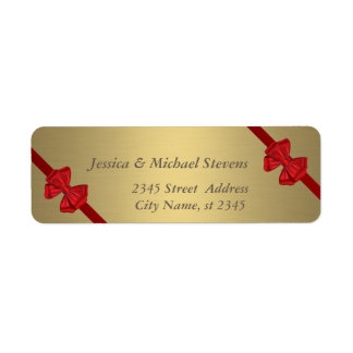 Elegant trendy modern gold red bows wedding return address label