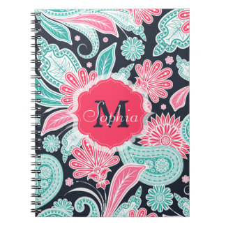 Elegant trendy paisley floral pattern illustration note book