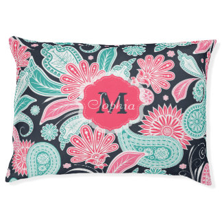 Elegant trendy paisley floral pattern illustration pet bed