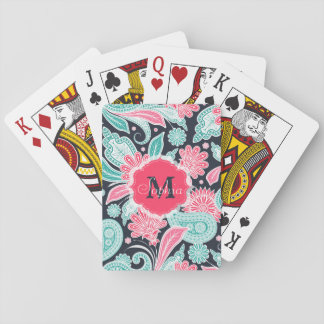 Elegant trendy paisley floral pattern illustration playing cards