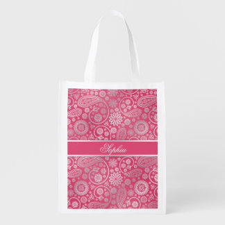 Elegant trendy paisley floral pattern illustration reusable grocery bag