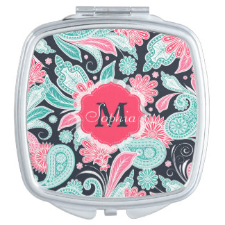 Elegant trendy paisley floral pattern illustration travel mirrors