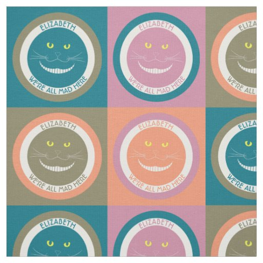 Elegant Trendy Pastel Colours Cheshire Smiling Cat Fabric