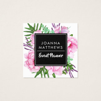 Elegant Trendy Pink Floral Square Business Cards