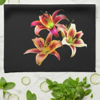 Elegant Trio of Yellow and Pink Daylilies Tea Towel