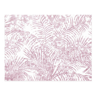 Elegant tropical blush pink faux glitter palm tree postcard