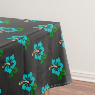 Elegant Tropical Chic Cute Teal Hibiscus Floral Tablecloth