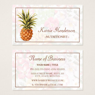 Elegant Tropical Floral and Pineapple Nutritionist Business Card