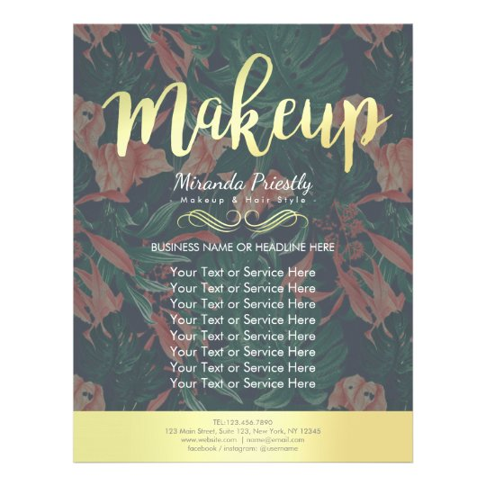 Elegant Tropical Floral Gold Script Makeup Salon Flyer