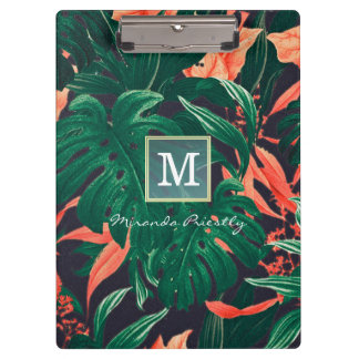 Elegant Tropical Floral Modern Gold Frame Monogram Clipboard