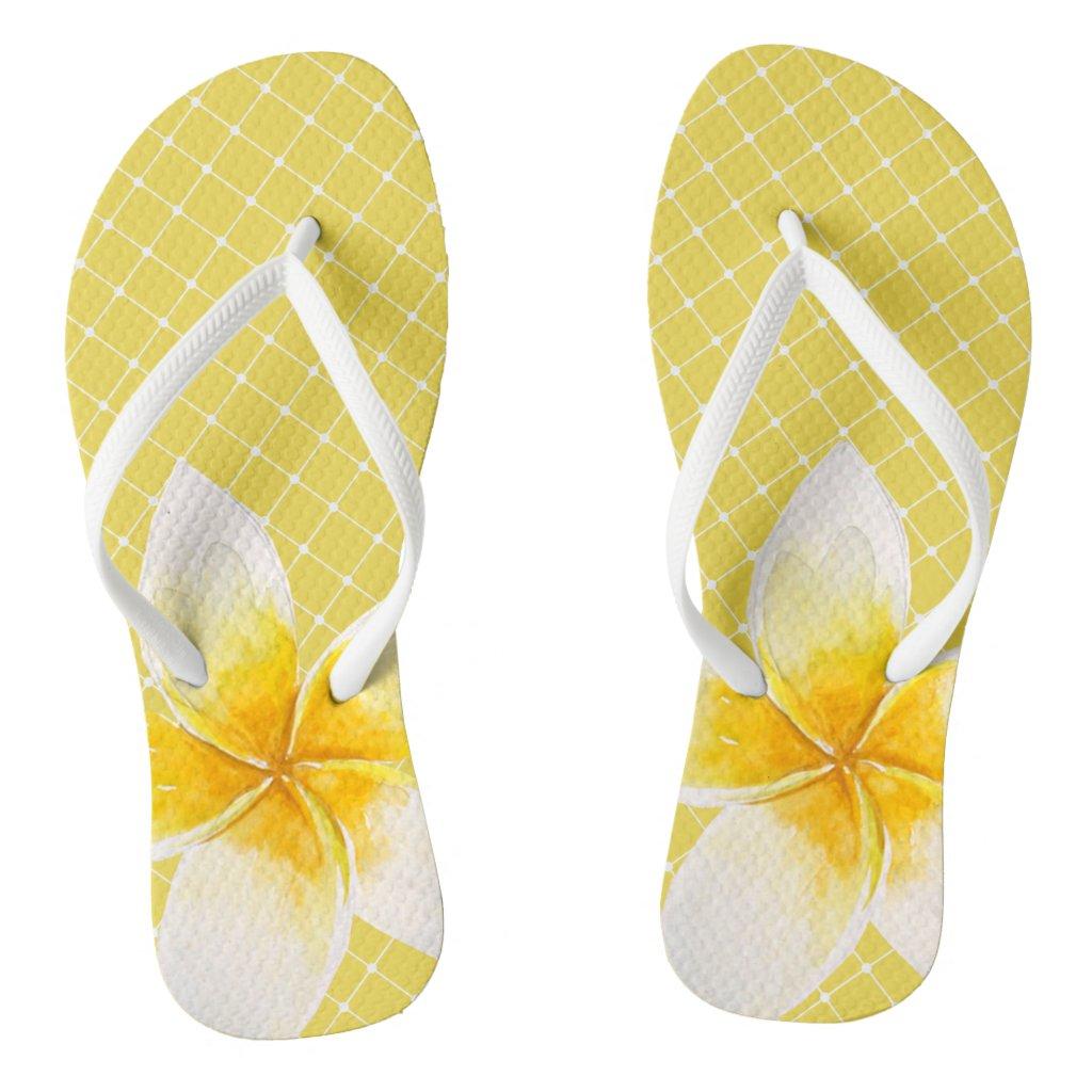 Elegant Tropical Flower & Trellis Pattern | Yellow Flip Flops