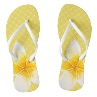 Elegant Tropical Flower & Trellis Pattern | Yellow Flip Flops