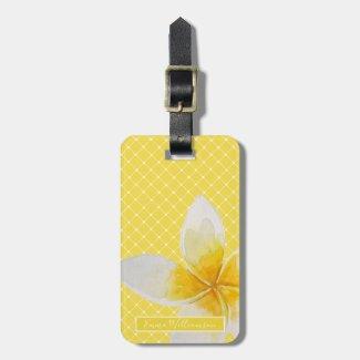 Elegant Tropical Flower & Trellis Pattern | Yellow Luggage Tag