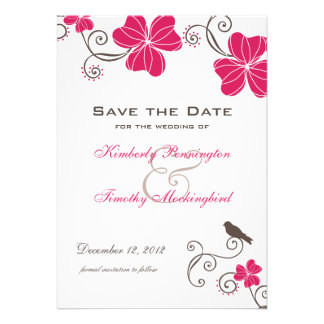Elegant tropical flowers and bird save the date custom invitations