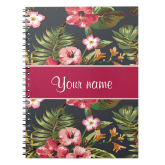 Elegant Tropical Hibiscus Flowers and Leaves Notebooks
