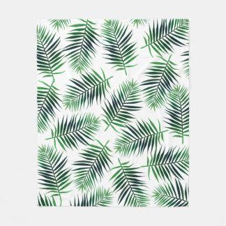 Elegant Tropical Island Palm Fronds Ferns Fleece Blanket