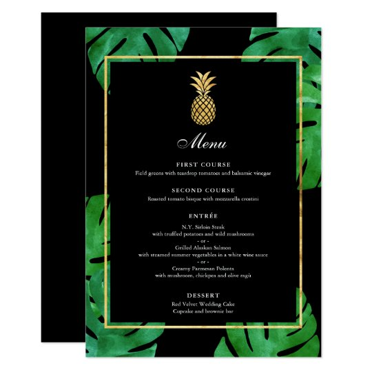 Elegant Tropical Pineapple Gold Wedding Menu Card