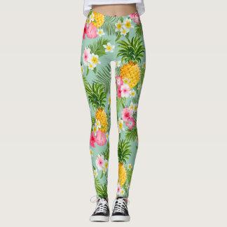 Elegant Tropical Pineapple Watercolor Pattern Leggings